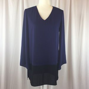 The Limited Tunic Blouse, Navy & Black, XS